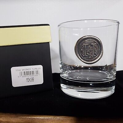 H English Pewter Company 11oz Whisky Glass Tumbler with Monogram Initial Personalised Gift with Your Choice of Initial MON108
