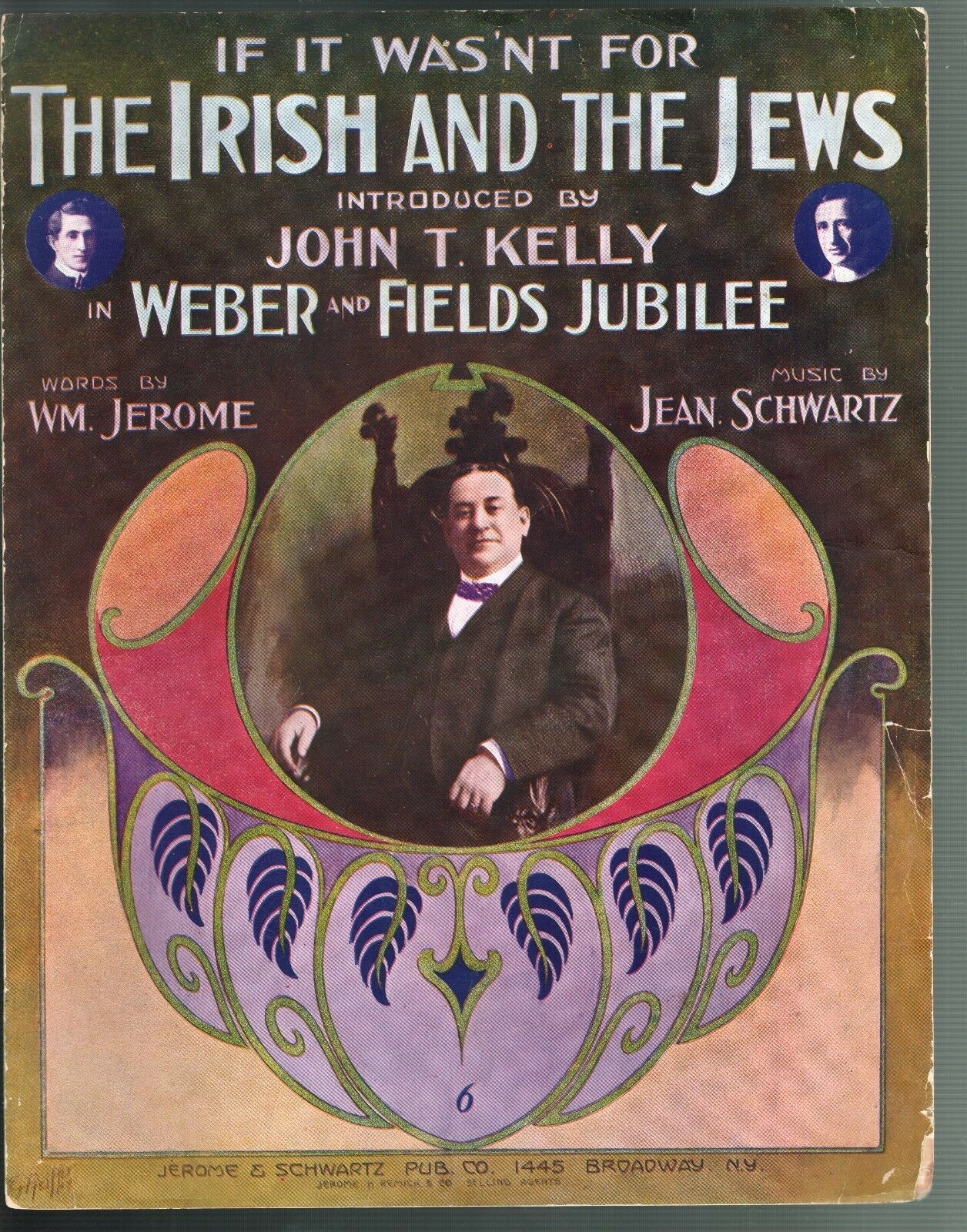 If It Wasn't For the Irish and the Jews 1912 Large Format Sheet Music