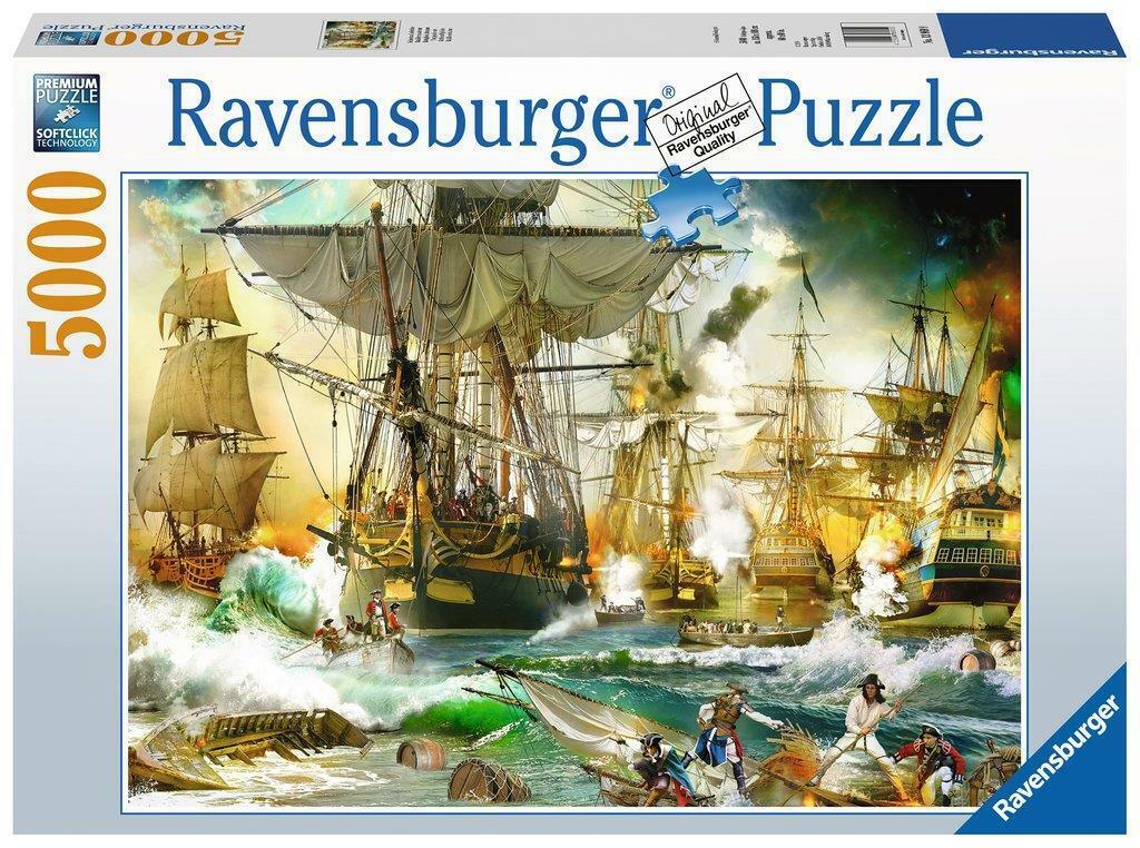 RAVENSBURGER JIGSAW PUZZLE BATTLE ON  HIGH SEAS 5000 PCS SHIPS  13969  risparmia il 60% di sconto