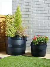 Item 4 Blacksmith Barrel Black Plastic Planter Plant Pot Tub Garden Patio Out Indoor