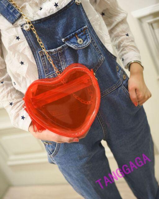 Hot Women Red Heart Transparent Jelly Beach Bag Handbag Messenger Shoulder Bag
