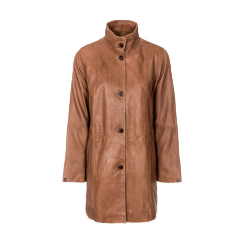 Ladies Leather High Collar 3//4 length coat woodlands Leather SR485