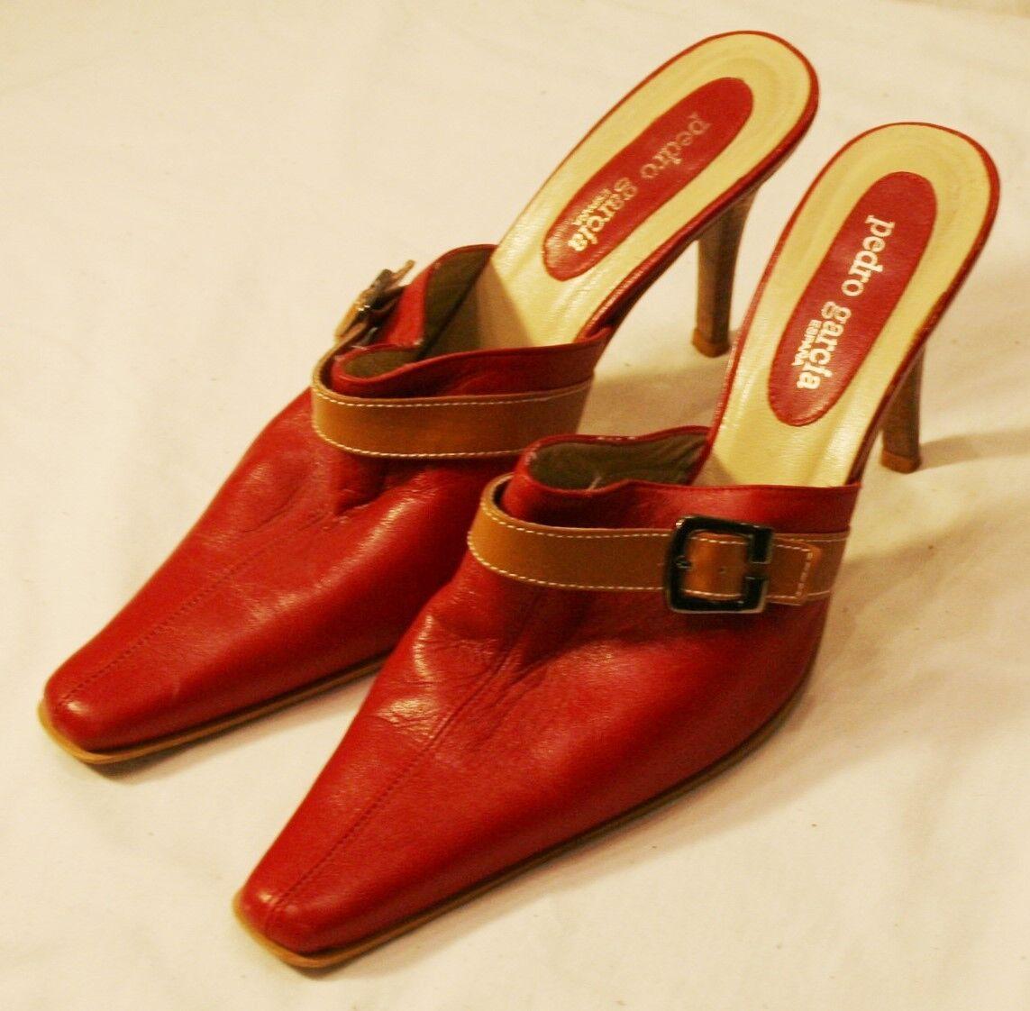 Pedro Garcia Dunkelrot Ferse Schuhe 9B 9 B Damen Schuhe Ferse Pumps Schnalle ohne Bügel 39fcb8