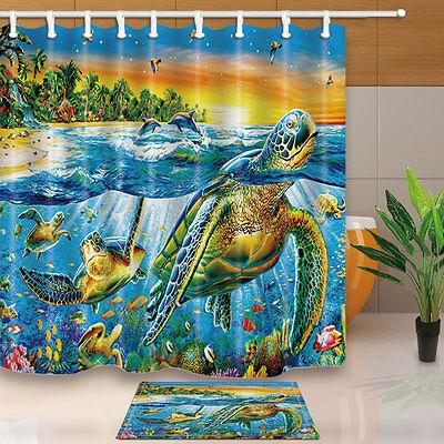 """Sea Turtle Ocean Scenery Shower Curtain Bathroom Waterproof Fabric 12 Hook 71/"""""""
