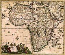 Mappa ANTICA DE WIT 1688 Africa continente vecchi grandi REPLICA poster stampa pam0881