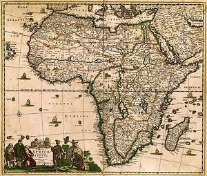 MAP-ANTIQUE-DE-WIT-1688-AFRICA-CONTINENT-OLD-LARGE-REPLICA-POSTER-PRINT-PAM0881