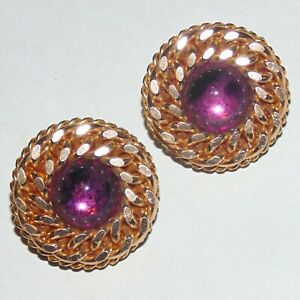 Vintage-purple-mirror-backed-cabochon-gold-tone-curb-chain-around-clip-earrings