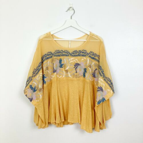 Free People Embroidered Love Letter Top Womens Siz