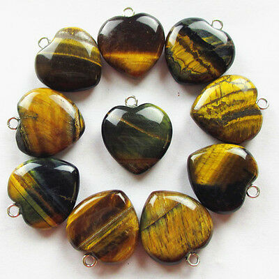 10Pcs Beautiful Mixed Gemstone Heart Pendant Bead XLZ-83