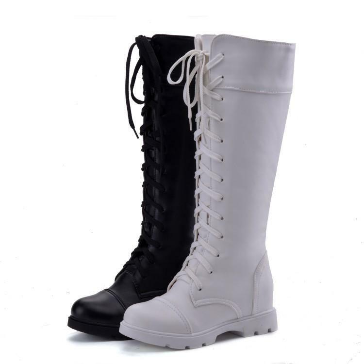 Gothic Round Toe Military Punk Lace up Knight Knee High Boots Womens Flat shoes
