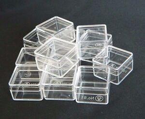 Image is loading 12-PCS-SQUARE-CLEAR-PLASTIC-MINI-BOXES-STORAGE- & 12 PCS SQUARE CLEAR PLASTIC MINI BOXES STORAGE CONTAINER ORGANIZER ...