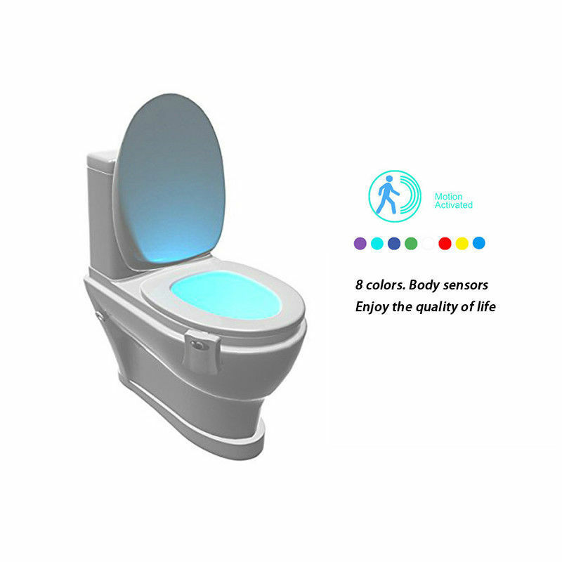 NEWS 8-Color LED Motion Sensing Automatic Toilet Bowl Night Light 1W 2M Distance