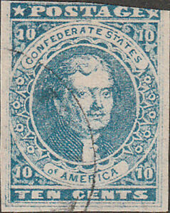 Confederate CSA #2H Hoyer & Ludwig Ten Cent Stamp