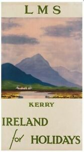 Vintage LMS Kerry Ireland For Holidays Railway Poster Print A3//A4