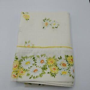 Vintage-1970-039-s-Morgan-Jones-Double-Flat-Size-Muslin-Floral-Daisy-Print-Retro