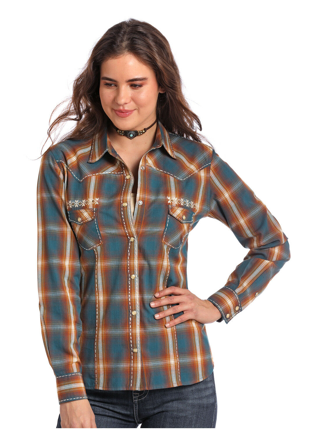 Panhandle Slim Woherren Dark Teal & Amber Plaid Snap Up Western Shirt 22S8174