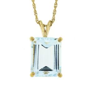 "Vintage 14k Gold 4.5ct Aquamarine Solitaire Emerald Cut Pendant & 15"" Rope Chain"
