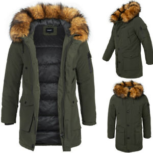 Details zu BEHYPE Herren Parka Mantel Winter Jacke Lang Kunst Fell Khaki NEU