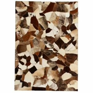 vidaXL-Rug-Genuine-Leather-Patchwork-80x150cm-Random-Brown-White-Carpet-Mat
