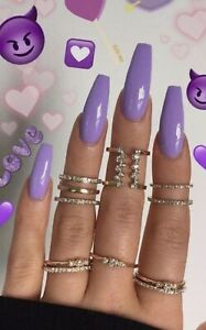 Details about Set Of Painted Pony Purple Long Coffin Nails