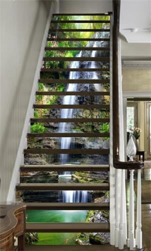 3D Teich Wasser 731 Stair Risers Dekoration Fototapete Vinyl Aufkleber Tapete DE
