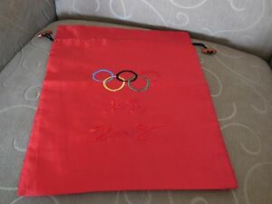 Collectible 2008 Olympics Beijing Red Silk / Satin Drawstring Bag - NEW