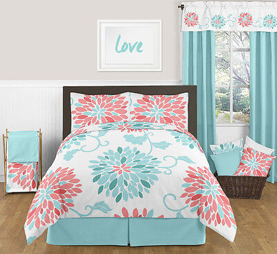 Sweet Jojo Queen Sized Turquoise Coral Floral Bed in a Bag Bedding Set Ensemble