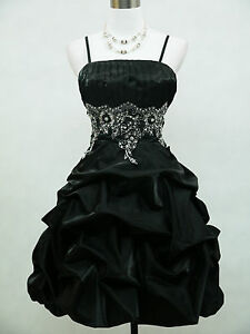 Cherlone-Satin-Black-Sparkle-Prom-Cocktail-Party-Ball-Evening-Dress-Size-16-18
