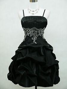 Cherlone-Satin-Black-Sparkle-Prom-Cocktail-Party-Ball-Evening-Dress-Size-16-18