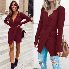 item 6 Women Knitted Long Sleeve V Neck Lace Up Sweater Jumper Knitwear  Slim Mini Dress -Women Knitted Long Sleeve V Neck Lace Up Sweater Jumper  Knitwear ... 39b64b262