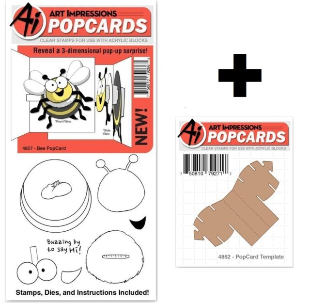 Art Impressions Bee Popcards Stamps & Dies Set - Buzzing by to say HI!