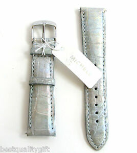 4841acef7 NEW MICHELE 20MM LIGHT GRAY SILVER MULTI ALLIGATOR WATCH STRAP,BAND ...