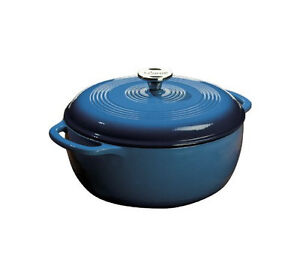 NEW Lodge Color 6-Quart Enameled Cast Iron Dutch Oven Pot Blue w/ Loop Handlers