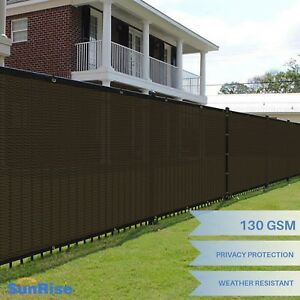 6-039-x50-039-Brown-Windscreen-Privacy-Fence-Shade-Cover-Mesh-Outdoor-Lawn-Construction