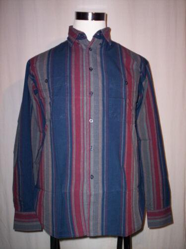 Camicia casual classica a righe Effect uomo manica lunga cotone button down M L