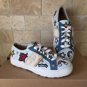 8f33244cf81 Details about UGG PATCH IT BLEACH DENIM / SHEARLING LACE UP SNEAKERS SHOES  SIZE US 5 WOMENS