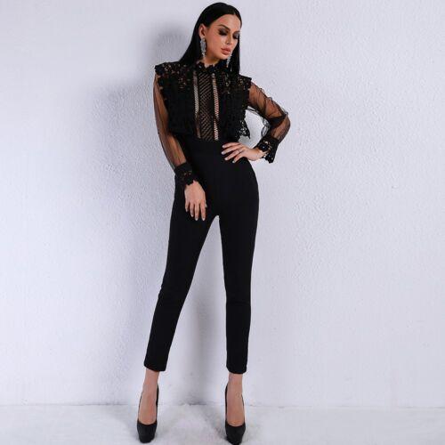 le donne Tute lunghe a donna Sexy tuta da nere per maniche donna Clubwear da xO7xr4