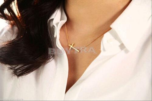 Celebrity Style Horizontal Sideway Cross Gold Silver Pendant Necklace Jewelry MA