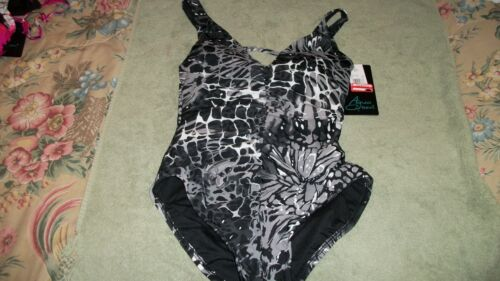 Aqua Green One Pc Padded  Black//White//Gray REDUCED 4-6 Swimsuit  NWT  Size  S