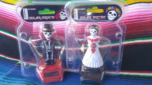 Happy Dancing Solar Power Day of the Dead Skeleton Bride and Groom NEW!