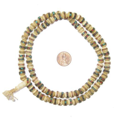 Natural Vintage Inlaid Bone Prayer Beads 8mm Nepal Multicolor Round Large Hole