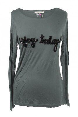 Mandala Longsleeve Pullover Shirt mit Pailletten-Schriftzug Yoga Grau M L