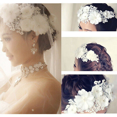 Wedding Bride Lace Pearl Bridal Flower Hair Clip Vintage Headdress