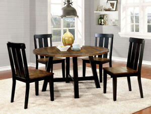Casual 5 Pc Two Tone Round Dining Table Set Antique Oak Black