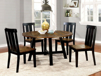 Casual 5 Pc Two Tone Round Dining Table Set Antique Oak Black Furniture Ebay