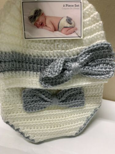 Baby Hand Crocheted Hat /& Diaper Cover 2 Piece Set 0-9 Months Brand New