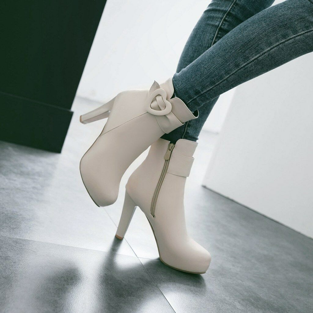 Women Block Heel Platform Metal Decor Ankle Boots Buckle Strap Zip Leisure shoes