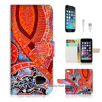 ( For iPhone 6 / 6S ) Wallet Case Cover! Aboriginal Dot Art Turtle P0357