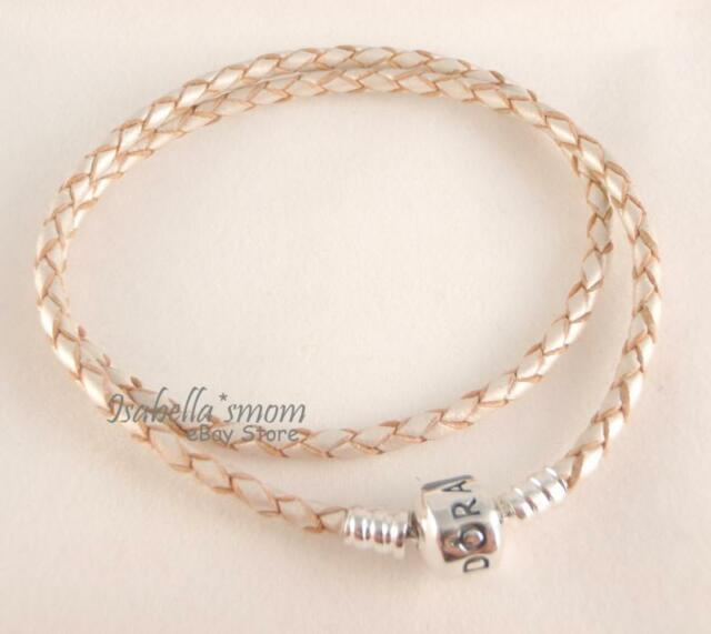 3e3460559 Genuine PANDORA Off-White CHAMPAGNE Leather/Silver DOUBLE Bracelet 15