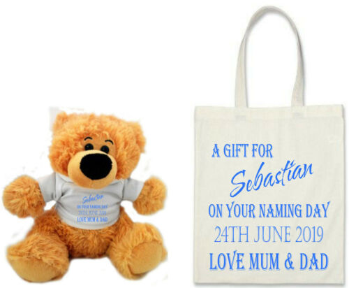 Personalised TEDDY BEAR /& BAG Christening Baptism Naming Day Boys and Girls GIFT